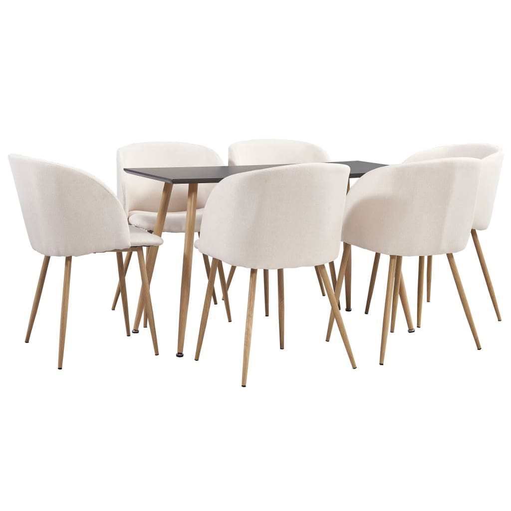 vidaXL Set mobilier de bucătărie, 7 piese, crem, material textil imagine vidaxl.ro