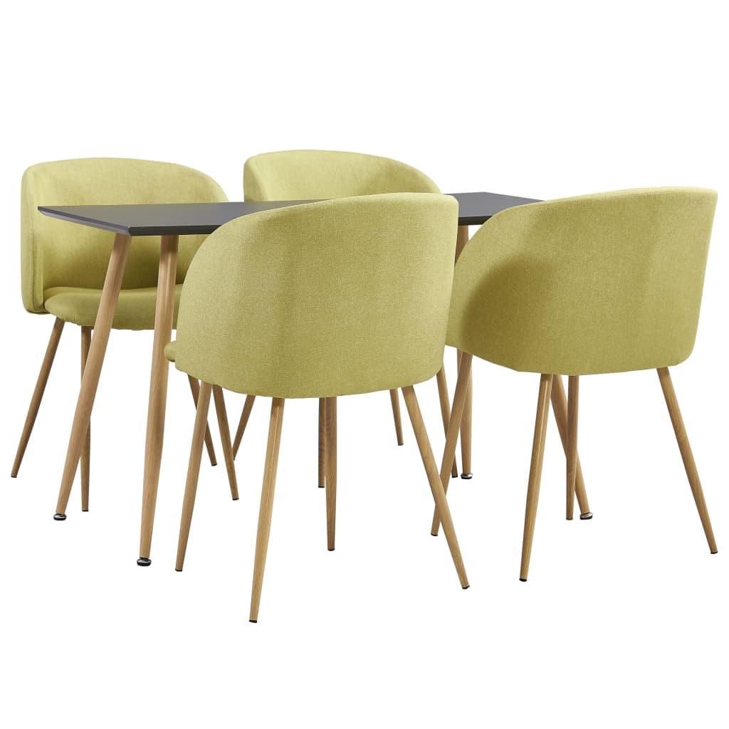 vidaXL Set mobilier de bucătărie, 5 piese, verde, material textil poza 2021 vidaXL