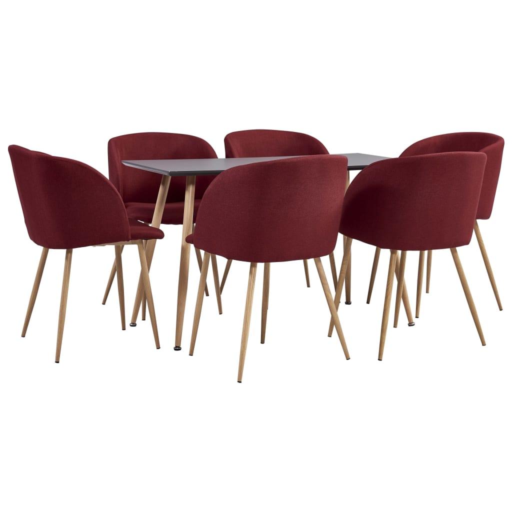 vidaXL Set mobilier de bucătărie, 7 piese, roșu vin, material textil imagine vidaxl.ro