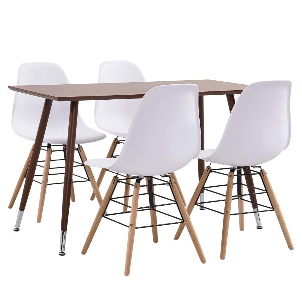 vidaXL Set mobilier de bucătărie, 5 piese, alb, plastic vidaxl.ro