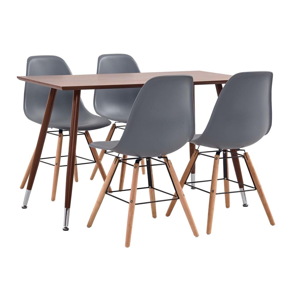 vidaXL Set mobilier de bucătărie, 5 piese, gri, plastic poza vidaxl.ro