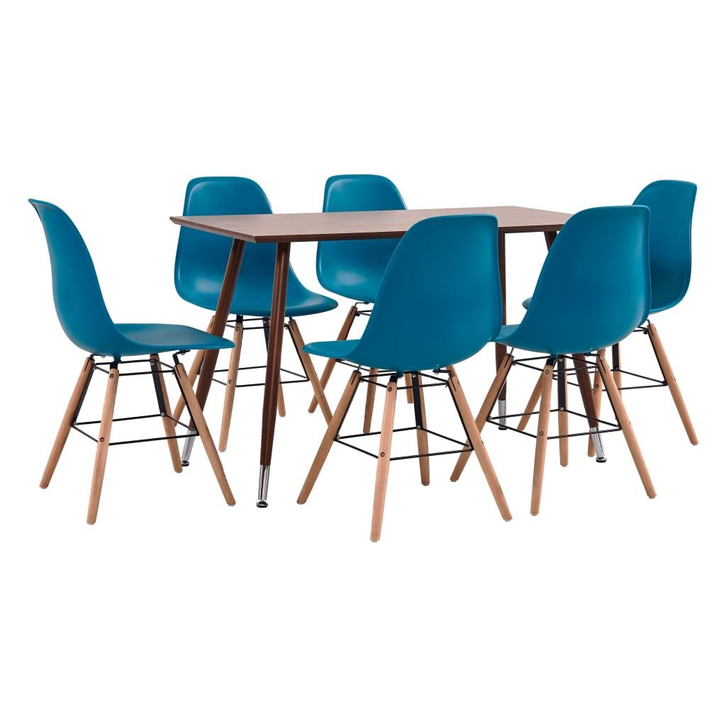 vidaXL Set mobilier de bucătărie, 7 piese, turcoaz, plastic poza vidaxl.ro