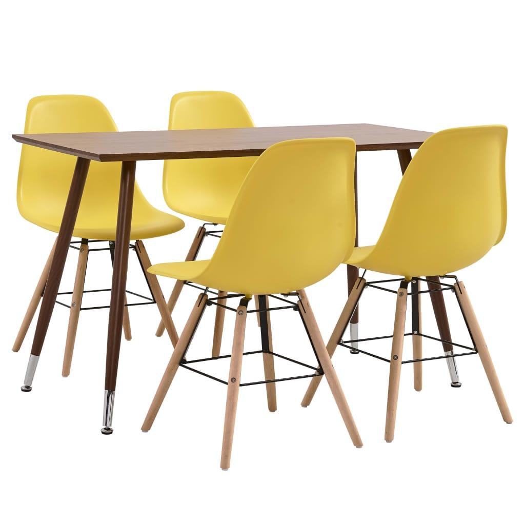 vidaXL Set mobilier de bucătărie, 5 piese, galben, plastic vidaxl.ro