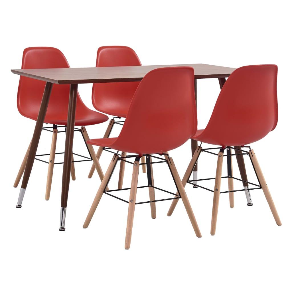 vidaXL Set mobilier de bucătărie, 5 piese, roșu, plastic poza vidaxl.ro