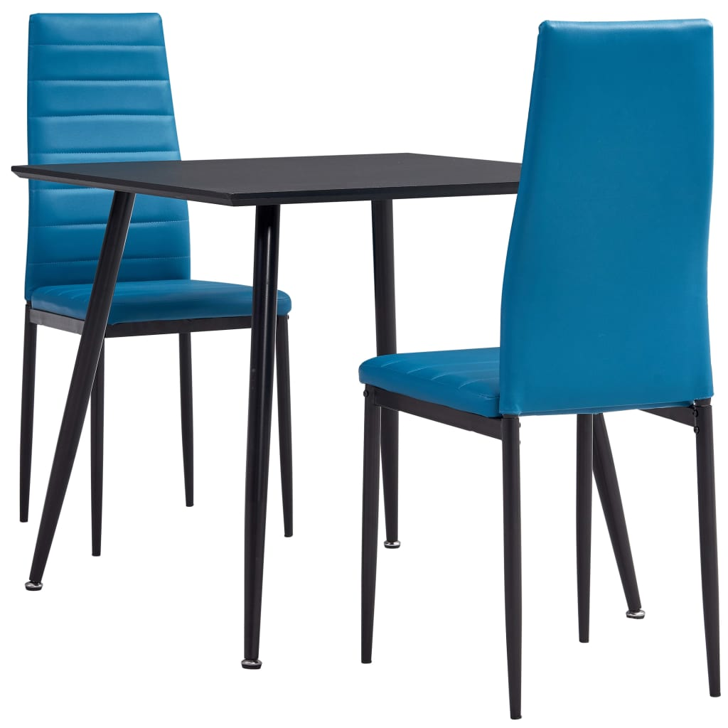 3dílný jídelní set umělá kůže azurově modrý