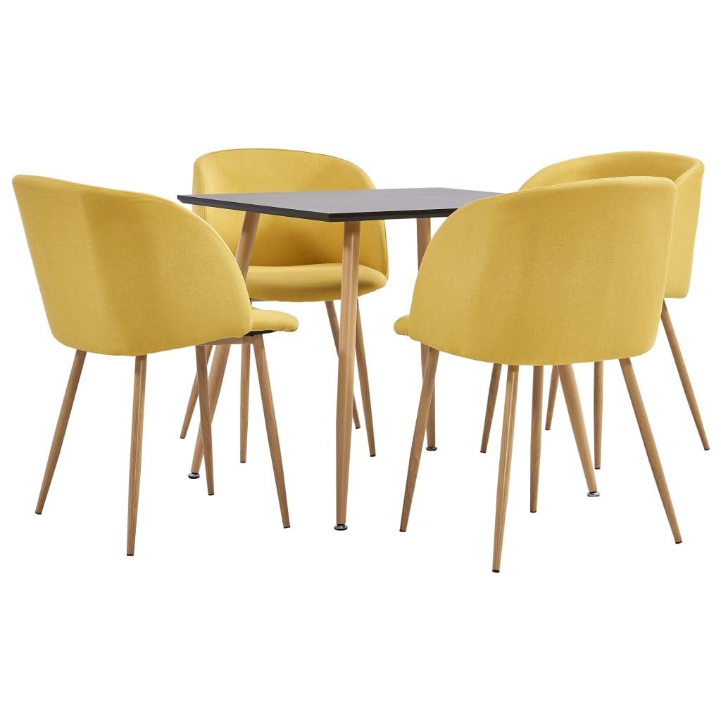 vidaXL spisebordssæt 5 dele stof gul