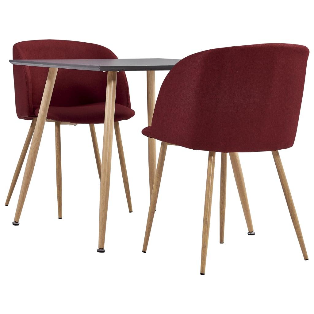 vidaXL spisebordssæt 3 dele stof vinrød