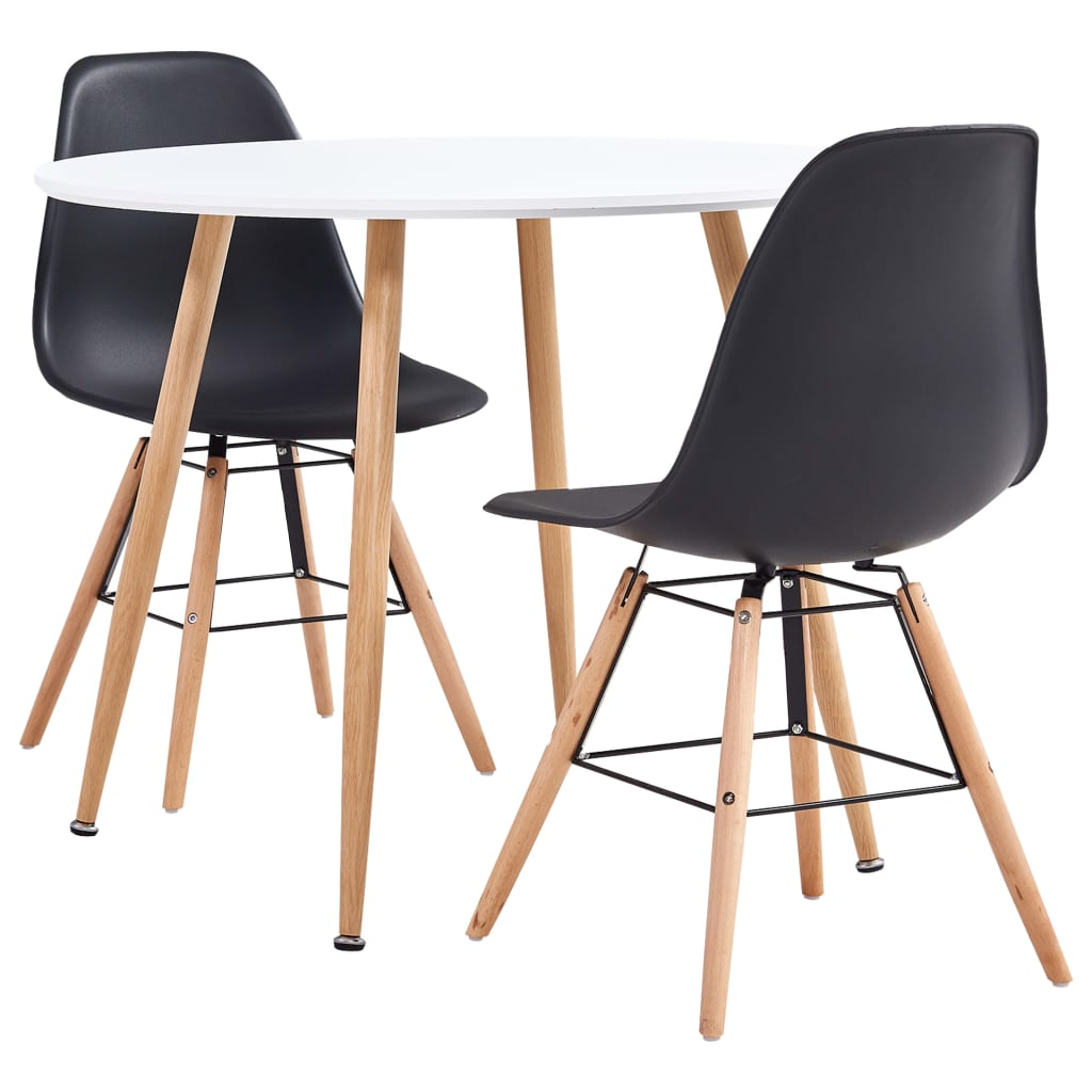 vidaXL Set de mobilier bucătărie, 3 piese, negru, material plastic poza vidaxl.ro