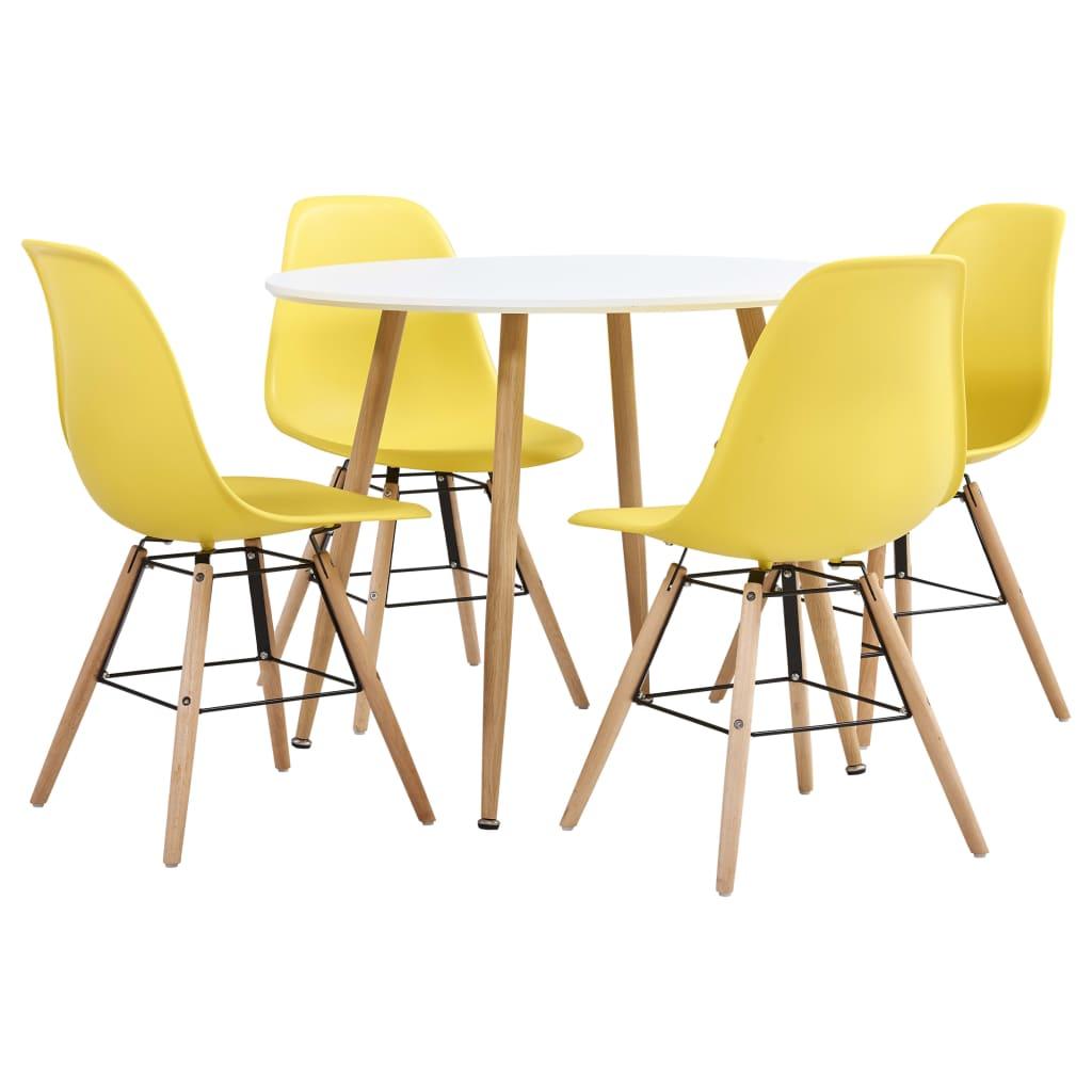 vidaXL Set de mobilier bucătărie, 5 piese, galben, material plastic poza 2021 vidaXL