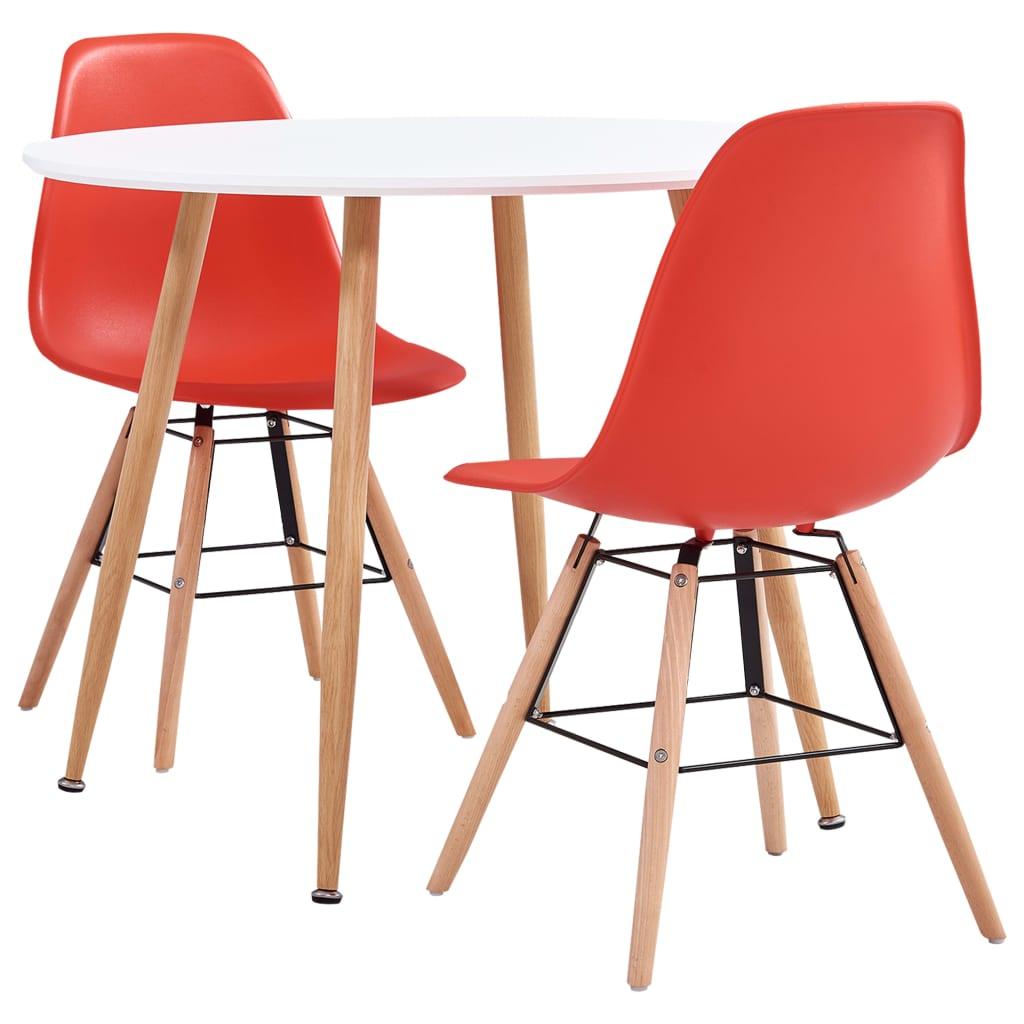 vidaXL Set de mobilier bucătărie, 3 piese, roșu, material plastic imagine vidaxl.ro
