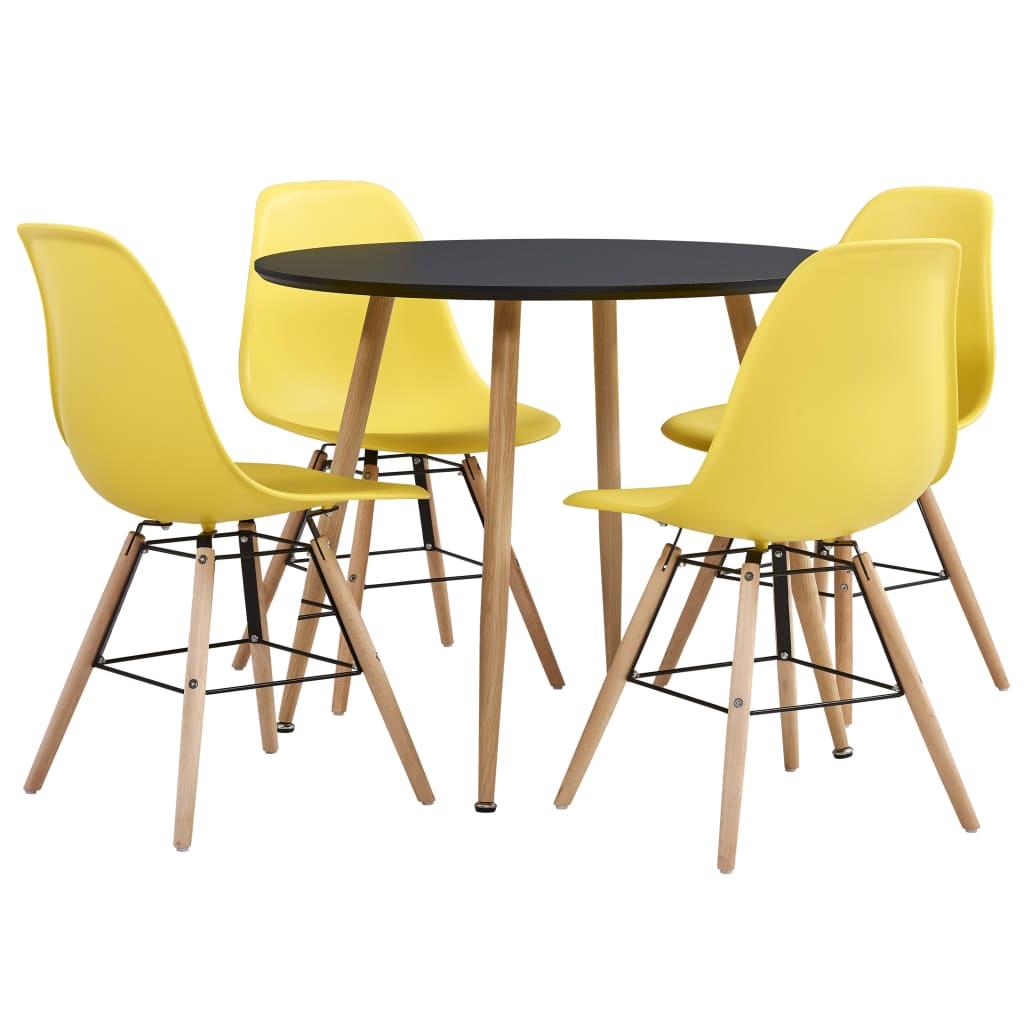 vidaXL Set de mobiler bucătărie, 5 piese, galben, material plastic poza 2021 vidaXL