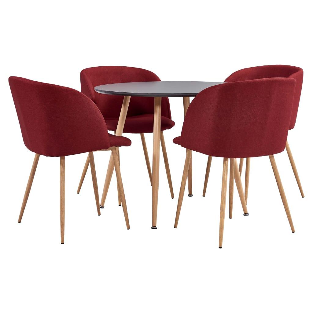 vidaXL spisebordssæt 5 dele stof vinrød