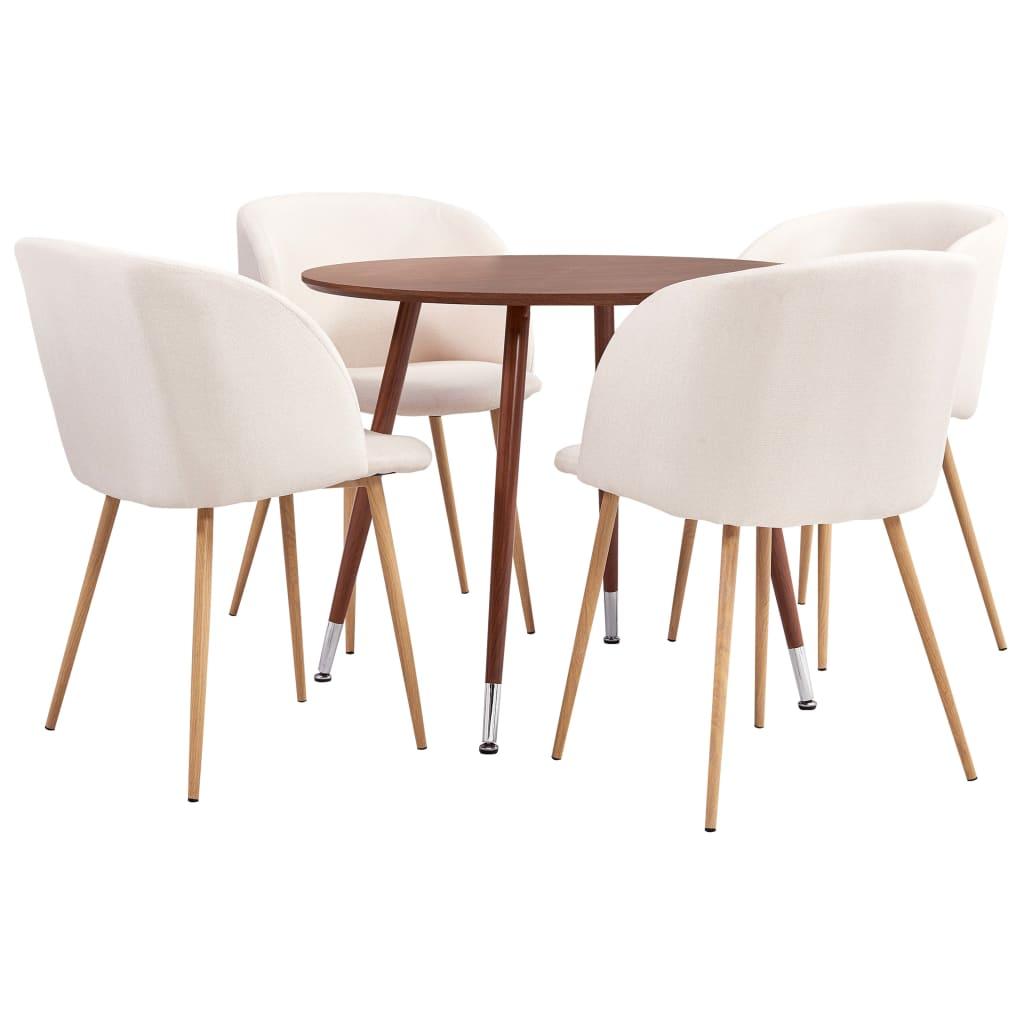 vidaXL Set mobilier de bucătărie, 5 piese, crem, material textil imagine vidaxl.ro