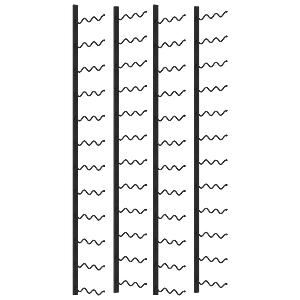 vidaXL Suporturi vin montate pe perete, 72 sticle, 2 buc., negru, fier vidaxl.ro
