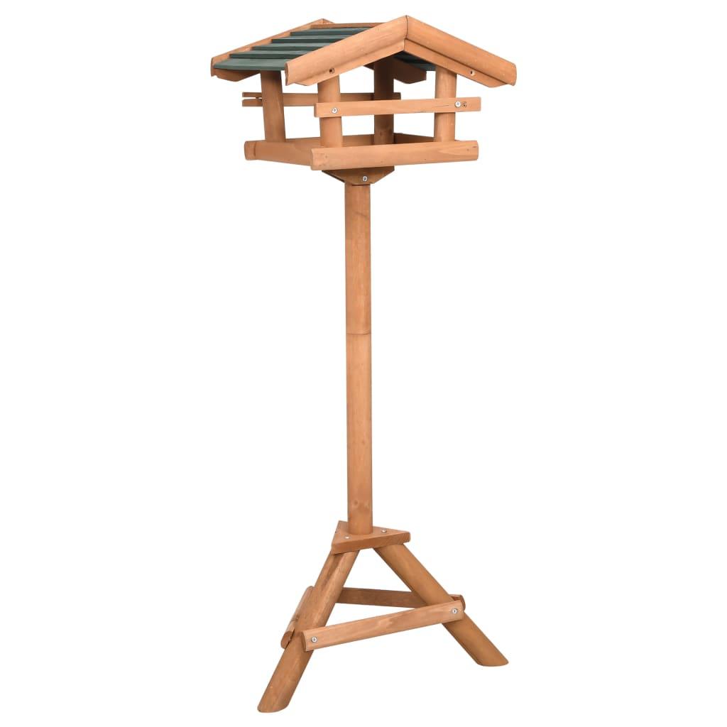 vidaXL Hrănitor pentru păsări cu suport, lemn de brad poza vidaxl.ro