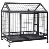 vidaXL Izdržljivi kavez za pse s kotačima čelični 98 x 98 x 72 cm