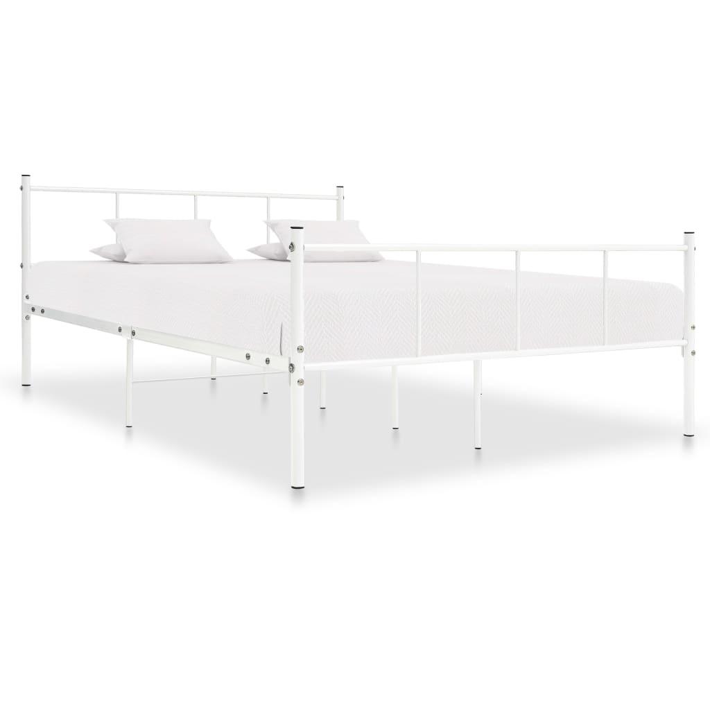 Rám postele bílý kov 140 x 200 cm