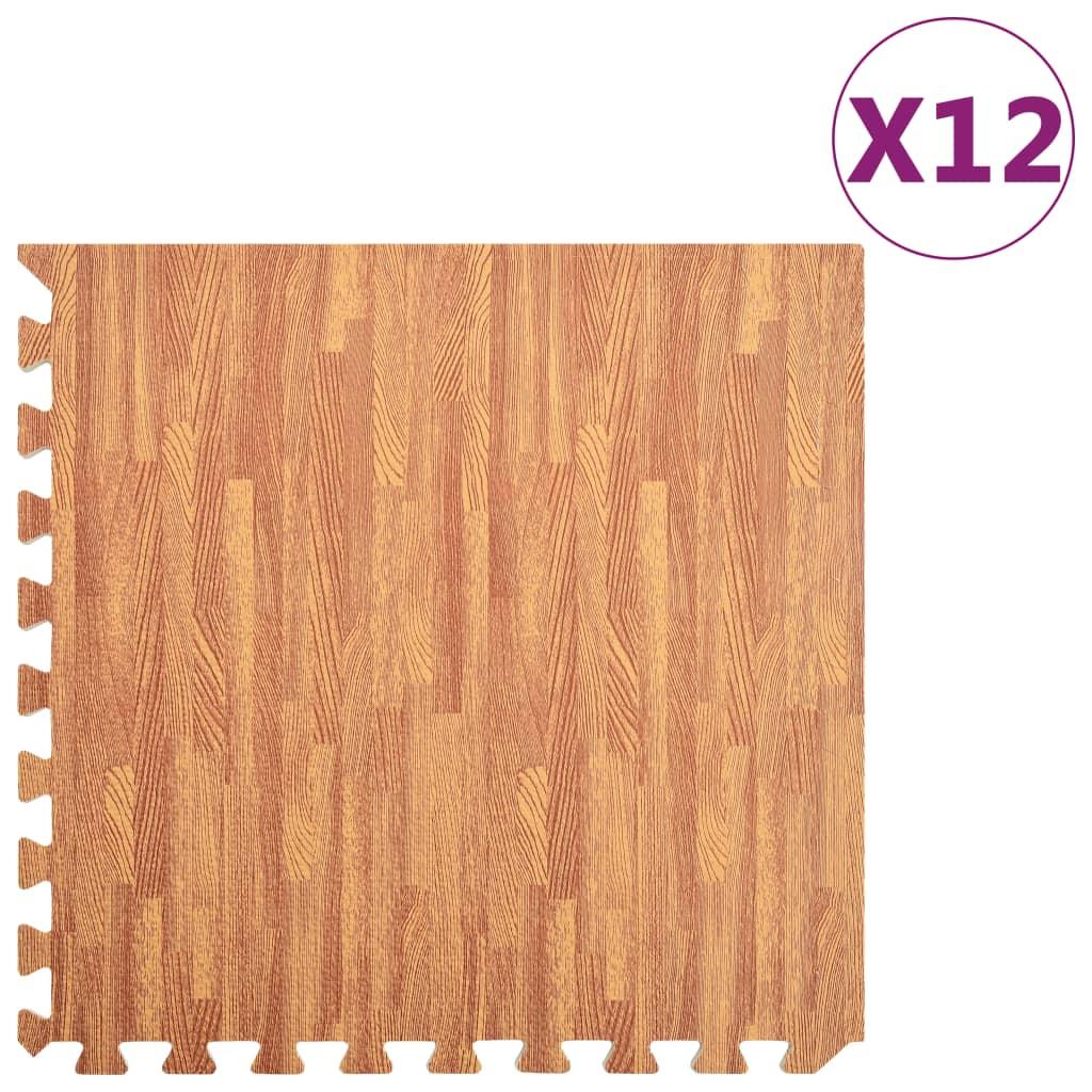 Podložky na cvičení 12 ks kresba dřeva 4,23 ㎡ EVA pěna