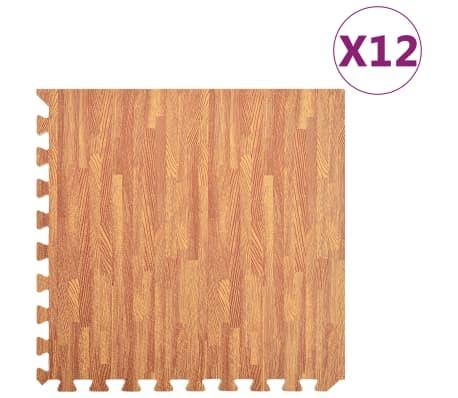 vidaXL Talne podloge 12 kosov 4,32 ㎡ vzorec lesa iz EVA pene