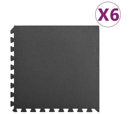 vidaXL Esterilla de suelo 6 piezas negro 2,16 ㎡ EVA