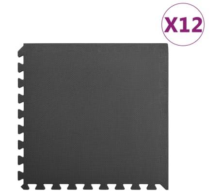 vidaXL põrandamatid 12 tk 4,32 ㎡ EVA-vaht, must