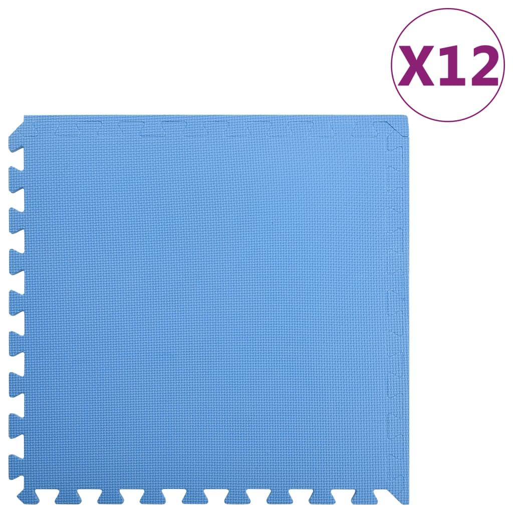 vidaXL Podložky na cvičení 12 ks 4,32 ㎡ EVA pěna modré