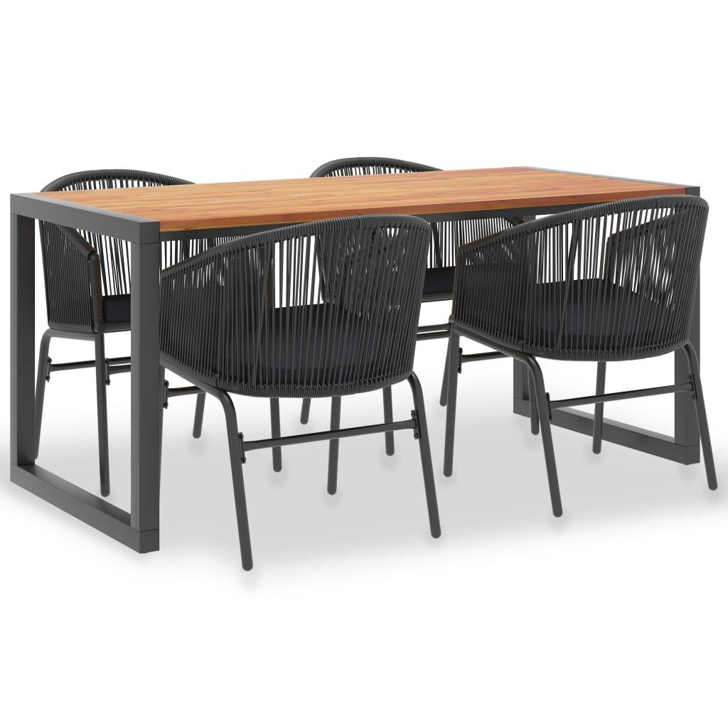 vidaXL Set mobilier de exterior 5 piese lemn masiv acacia și ratan PVC poza 2021 vidaXL