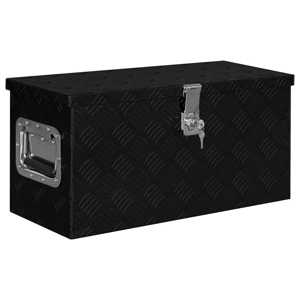 vidaXL Ladă de aluminiu, negru, 61,5 x 26,5 x 30 cm poza 2021 vidaXL