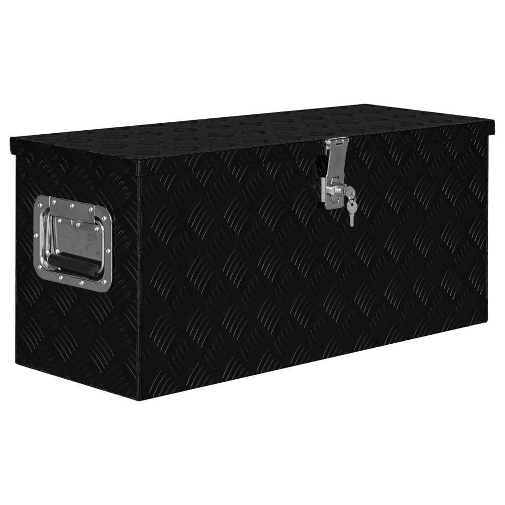 vidaXL Ladă de aluminiu, negru, 80 x 30 x 35 cm poza vidaxl.ro
