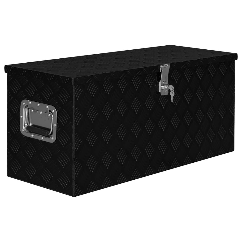 vidaXL Ladă de aluminiu, negru, 90,5 x 35 x 40 cm poza 2021 vidaXL