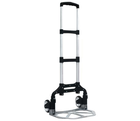 vidaXL Składany wózek transportowy, 70 kg, aluminiowy, srebrny