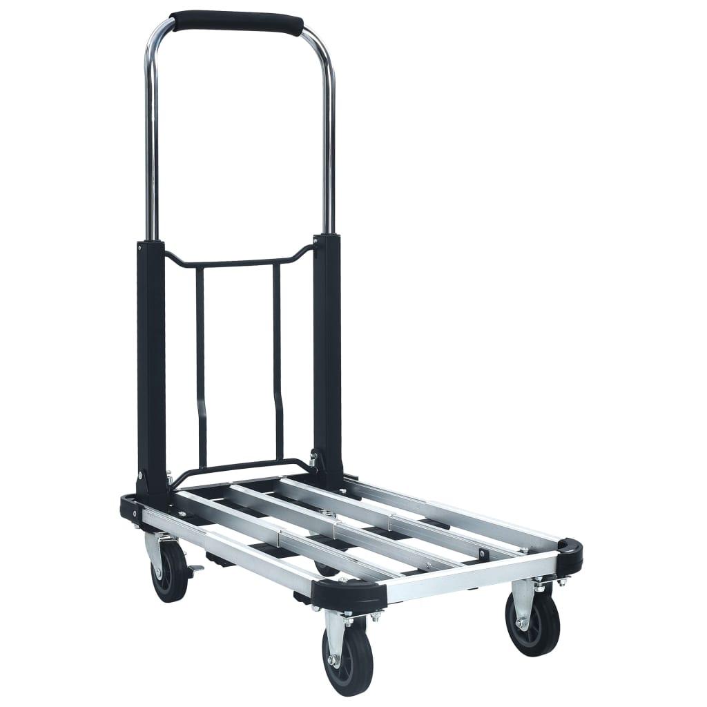 vidaXL Cărucior de transport pliabil, 150 kg, argintiu, aluminiu poza 2021 vidaXL