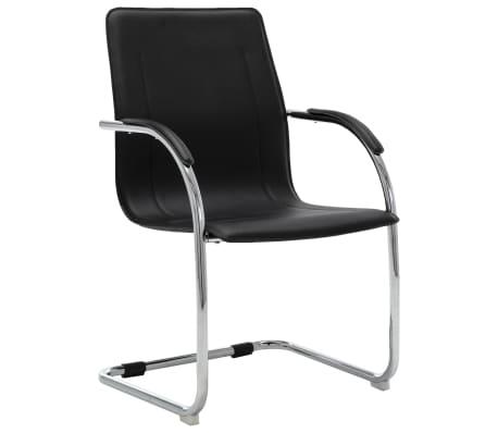 vidaXL Scaun de birou tip consolă, negru, piele ecologică