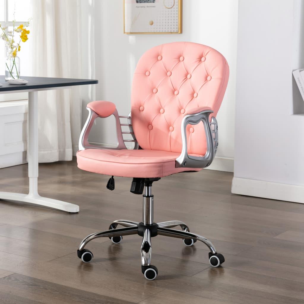 vidaXL Scaun de birou rotativ, roz, piele ecologică vidaxl.ro