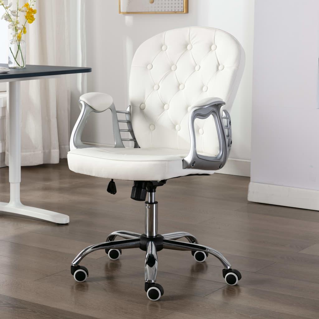 vidaXL Scaun de birou rotativ, alb, piele ecologică poza 2021 vidaXL