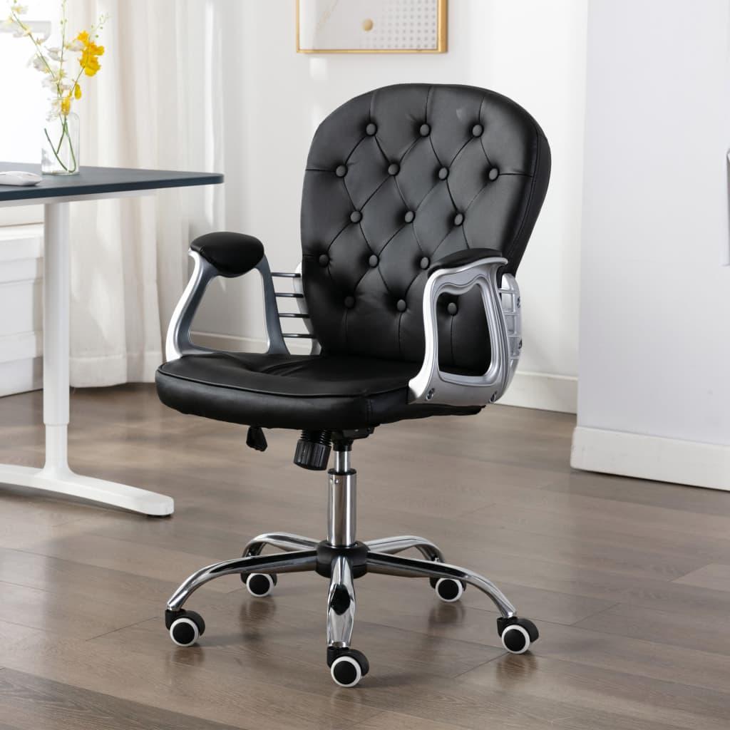 vidaXL Scaun de birou rotativ, negru, piele ecologică vidaxl.ro