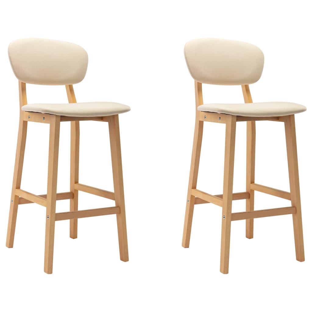 vidaXL Krzesła barowe, 2 szt., kremowe, tapicerowane tkaniną