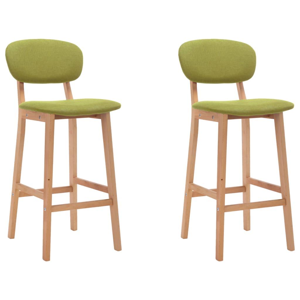 vidaXL Krzesła barowe, 2 szt., zielone, tapicerowane tkaniną
