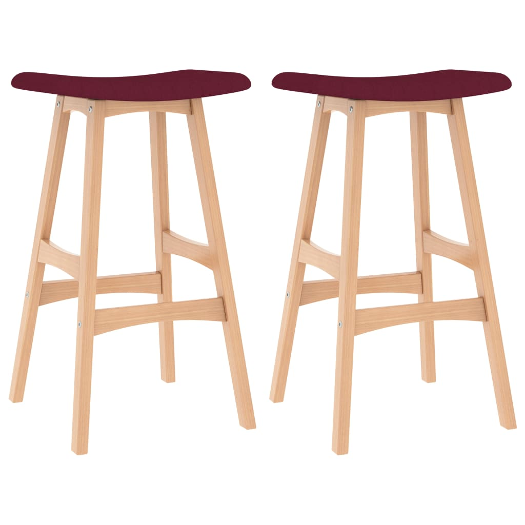 vidaXL barstole 2 stk. stof vinrød