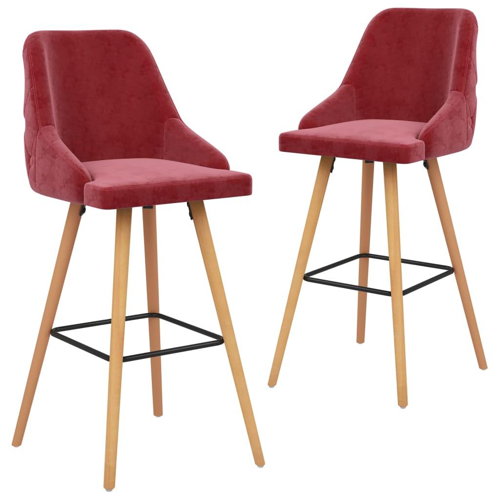 vidaXL Krzesła barowe, 2 szt., winna czerwień, obite aksamitem