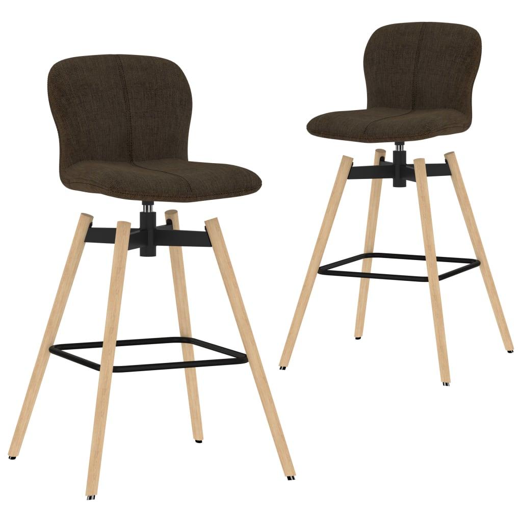 vidaXL drejelige barstole 2 stk. stof brun