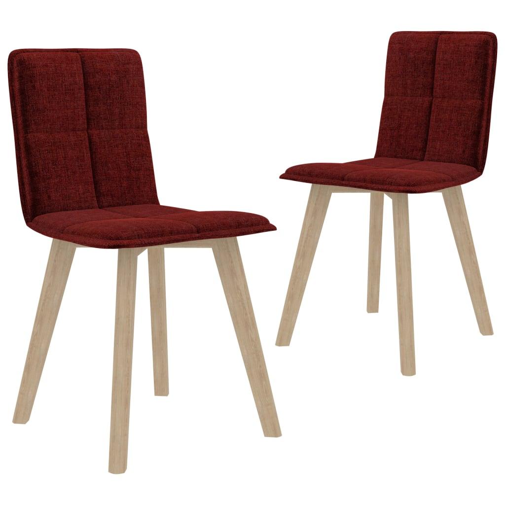 vidaXL spisebordsstole 2 stk. stof vinrød