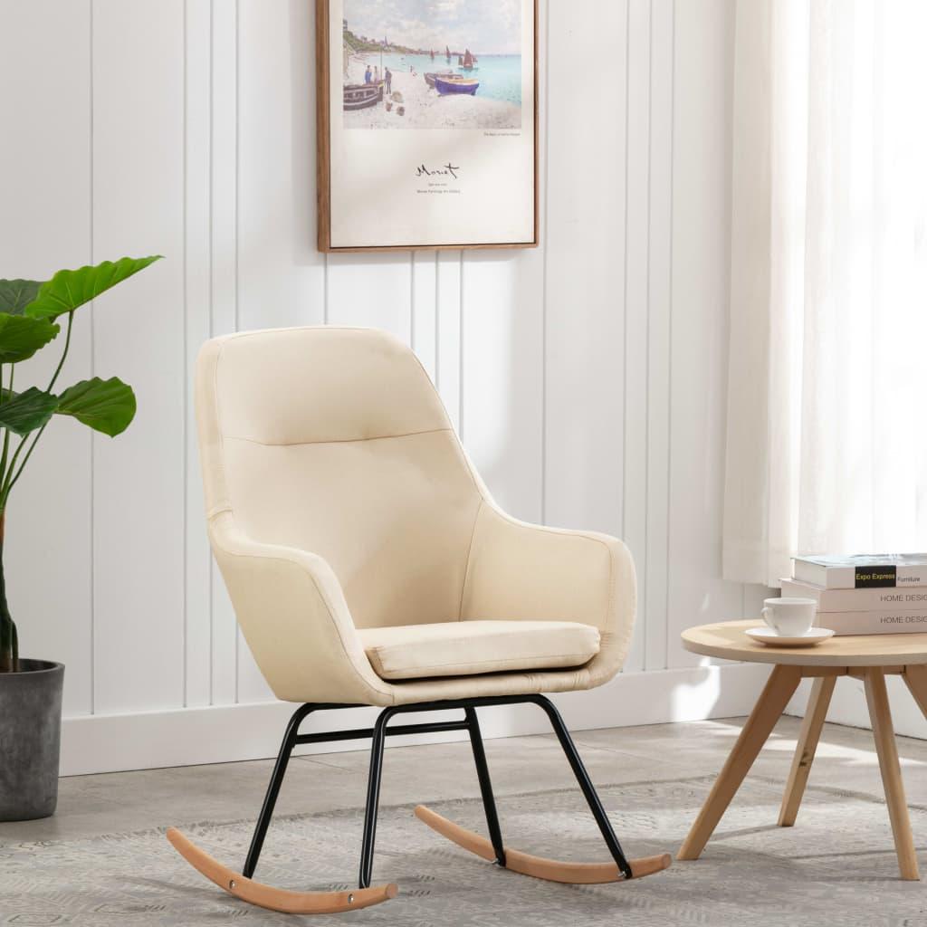 vidaXL Scaun balansoar, crem, material textil poza 2021 vidaXL