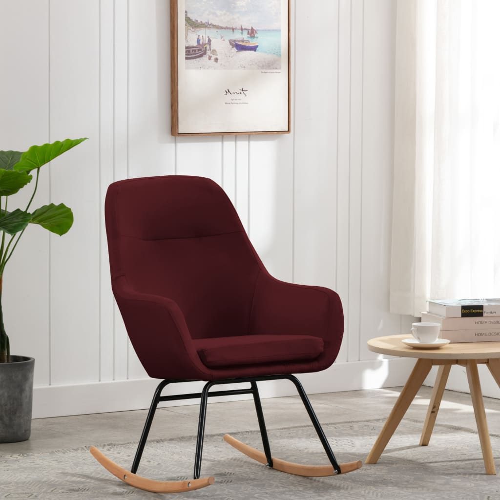 vidaXL Scaun balansoar, roșu vin, material textil poza 2021 vidaXL