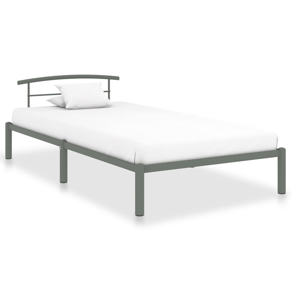 Rám postele šedý kov 90 x 200 cm