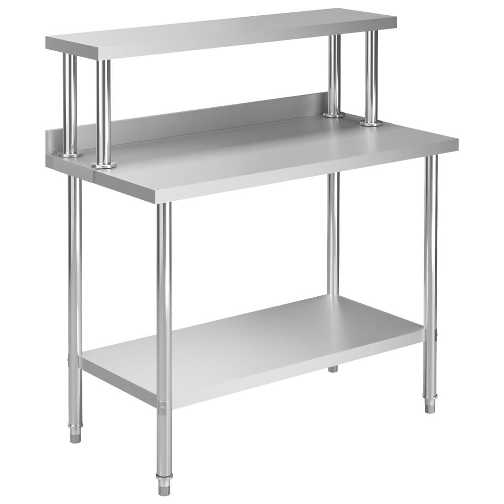 Kuchyňský pracovní stůl s policí 120x60x120 cm nerezová ocel