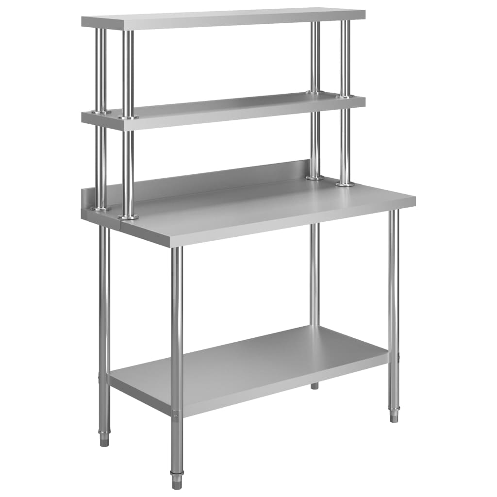 vidaXL Masă de lucru bucătărie, raft superior, 120x60x150 cm, oțel imagine vidaxl.ro
