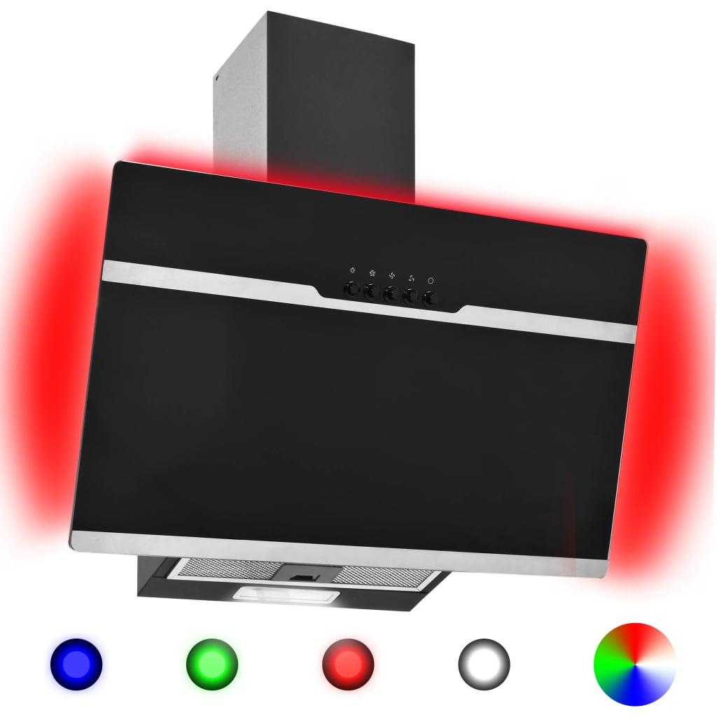Nástěnná digestoř RGB LED 60 cm nerezová ocel a tvrzené sklo