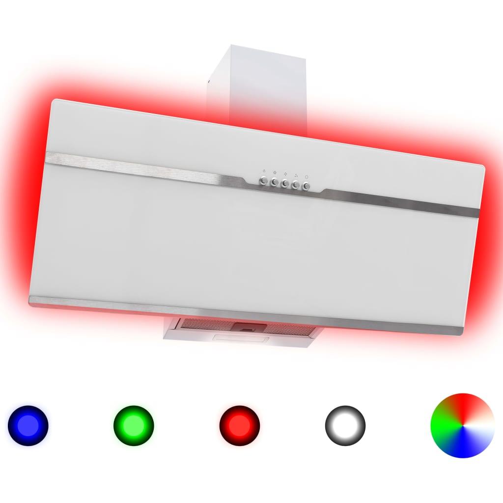 Nástěnná digestoř RGB LED 90 cm nerezová ocel a tvrzené sklo