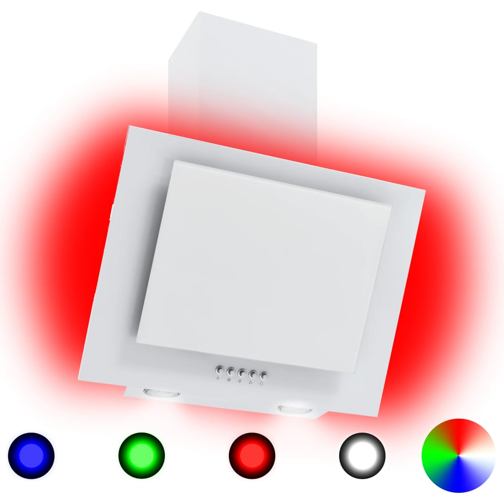 vidaXL Hotă RGB cu LED, 60 cm, oțel inoxidabil și sticlă securizată poza vidaxl.ro
